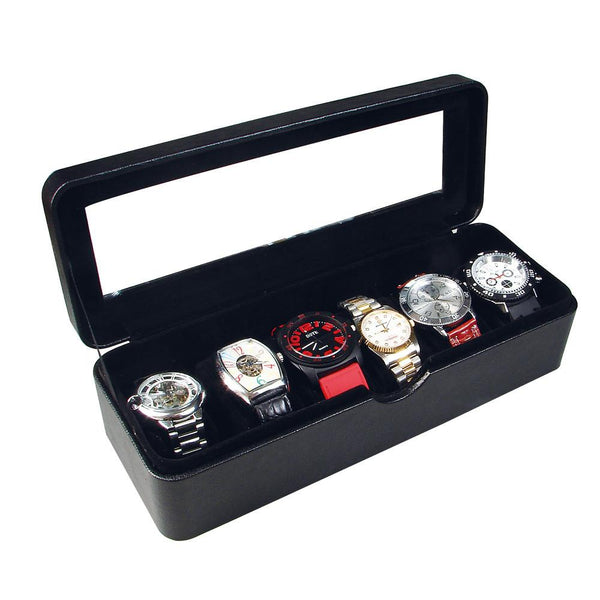Leatherette Watch Box for 6 Watches -Nile Corp