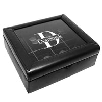 #TWB3808PR Personalized Black Faux Leather Watch Collector Case Box | Nile Corp