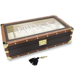 #TWB5612-BRPR2 Personalized Brown Leatherette Watch Storage Box with Text Engraving