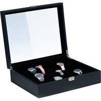 #WC-2218L-BK Black Faux Leather Watch Case