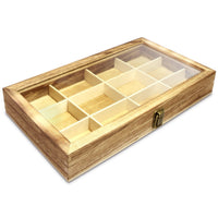 Glass Top Wooden Craft Supply Organizer Jewelry Display Storage Case with Metal Clasp | Nile Corp