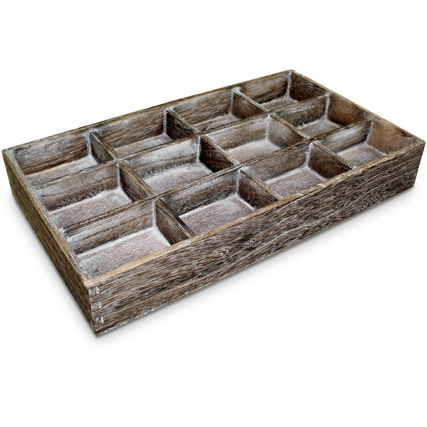 #WD122D Stackable Antique Wooden Jewelry Tray with Dividers