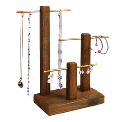 #WD1303-BR 3-Tiers Wooden Golden Aluminum Poles Jewelry Display Stand