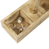#WD219-6OK Wooden T-bar Jewelry Display Stand with Compartments, Oak Color