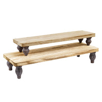 #WD2202-OK 2 Pcs oak wood retail display riser stands