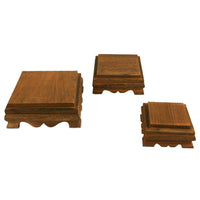 #WD222-BR  Wood Cake Stand Square Risers Farmhouse Riser