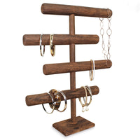 #WD2965BR Wooden Brown 4-Tier T-bar Jewelry Display Stand