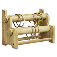 #WD3802OK Wooden 2 Tier Bar Bracelet Bangle Jewelry Holder