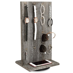 #WD5062CF Wooden Rotating Two-Sided Jewelry Display Stand 32 Hooks