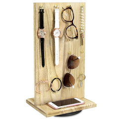 #WD5062OK Wooden Rotating Two-Sided Jewelry Display Stand 32 Hooks