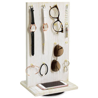 #WD5062WH Wooden Rotating Two-Sided Jewelry Display Stand 32 Hooks