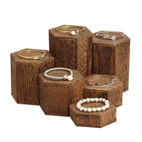 #WD513-BR Wooden 6 Pcs Hexagon Risers Display