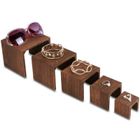 #WD525BR 5 Pieces Wooden Multi Functions Jewelry Display Stands, Figurine Stand Risers, Brown