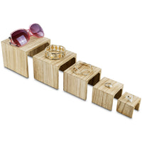 #WD525OK 5 Pieces Wooden Multi Functions Jewelry Display Stands, Figurine Stand Risers, Oak Color