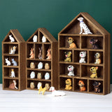 #WD5703BR House-Shaped Wooden Shadow Cubby Box Display Shelf, Set of 3, Brown