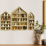 #WD5703OK House-Shaped Wooden Shadow Cubby Box Display Shelf, Set of 3, Oak