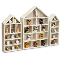 #WD5703WH House-Shaped Wooden Shadow Cubby Box Display Shelf, Set of 3, White