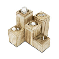 #WD606OK Wooden 5 Pcs Square Risers for Ring Display Jewelry and Accessories Display Stand