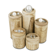 #WD607OK Wooden 5 Pcs Round Risers for Ring Display Jewelry and Accessories Display Stand