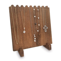 #WD609 Wooden Plank Necklace Jewelry Display Stand for 8 Necklaces - Brown
