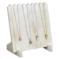 #WD609-WH Wooden Plank Necklace Jewelry Display Stand for 8 Necklaces - Brown