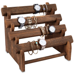 #WD7804BR Oval Shape Removable Wooden 4 Tiered Jewelry Bangle Bracelet Display