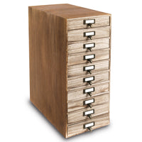 #WD7910  Wood Storage Cabinet with Metal Label Holders and 10 Drawers