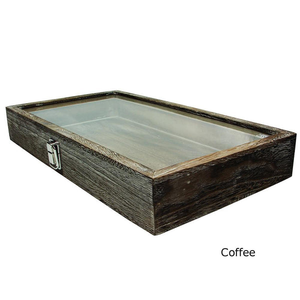Antique Wood Storage Case with Tempered Glass View Top | Nile Corp
