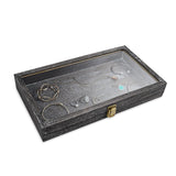 #WD83C-BK Natural Wood Glass Top Jewelry Display Case Accessories Storage Box with Metal Clasp