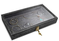 #WD83CL-BK  Natural Wood Glass Top Jewelry Display Case Accessories Storage Box with Metal Clasp