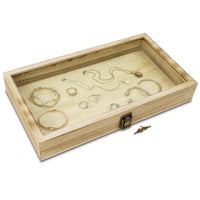 #WD83CL-OK Wooden Jewelry Display Case with a Tempered Glass Top Lid with Key Lock, Oak Color