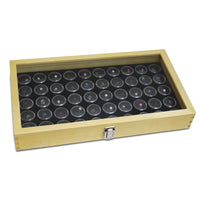 #WD83C+83-2 Glass Top Wood Jewelry Display Case, 50 Gem Jars