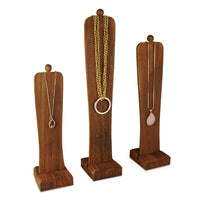 #WDJ5033BR 3Pcs Wooden Freestanding Necklace Easel Display Stand Holder with Multiple Size