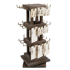 #WDJ5036CF Natural Wood Rotating 36 Hooks Jewelry Tower, Spinning Earring Card Storage Display Holder Stand for Store, Showcase, Tradeshow and Home