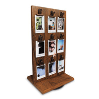 #WDJ5118BR Rotating Wooden Two-Sided Jewelry Display Stand with Clips