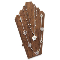 #WDN60-1BR Wooden Jewelry Display Bust Easel 3 Necklaces - Brown