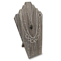 #WDN60-1CF Wooden Jewelry Display Bust with Easel for 3 Necklaces - Coffee