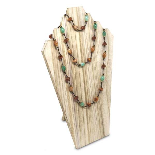 #WDN60-1OK Wooden Jewelry Display Bust with Easel for 3 Necklaces - Oak