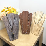 #WDN67-OK Wooden Jewelry Display Bust with Easel - Oak