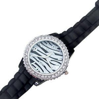 Fashion Watch with Rhinestones and zebra print-Nile Corp