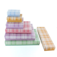 Assorted Colors Plaid Cotton Filled Jewelry Paper Box | Nile Corp