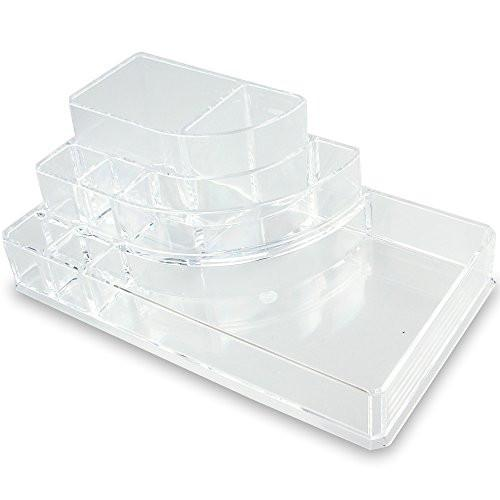 3 Step Acrylic Cosmetic Organizer with 8 Compartments-Nile Corp