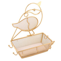 Bird Shaped Metal Wire Jewelry Display with Basket | Nile Corp