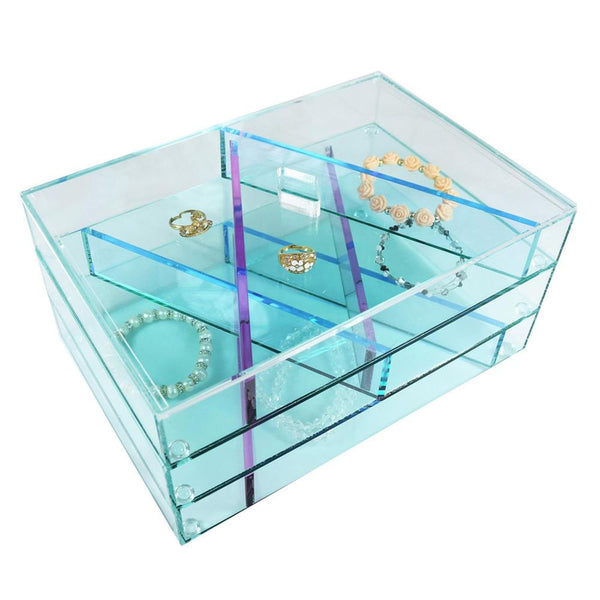 Acrylic Glass Look Jewelry/Makeup Display Storage Box-Nile Corp