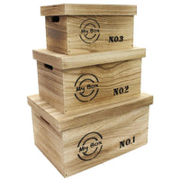 Wooden Storage Box With Lid and Handles -Nile Corp