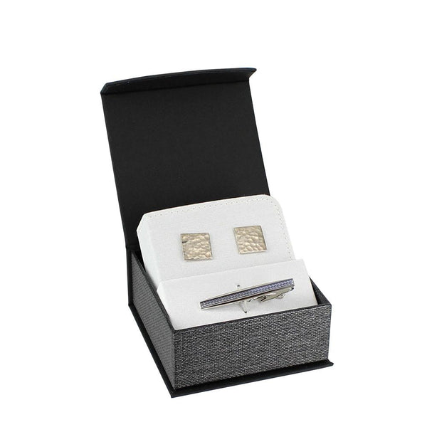 Elegant Mesh Gray Magnetic Boxes Cuff-link and Pin | Nile Corp