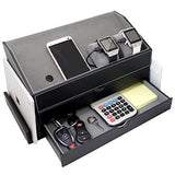 Black Faux Leather Multi-Device Desk Organizer-Nile Corp