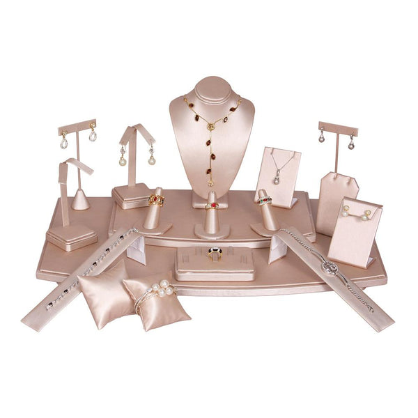 #SET71-S50 Champagne Pink Jewelry Display 18-Piece Set | Nile Corp