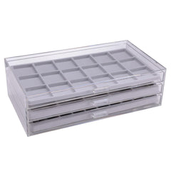 Acrylic 3 Drawer Jewelry Organizer with Gray Inserts-Nile Corp