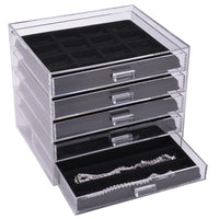 Acrylic 5 Drawer Jewelry Organizer with Black Inserts-Nile Corp